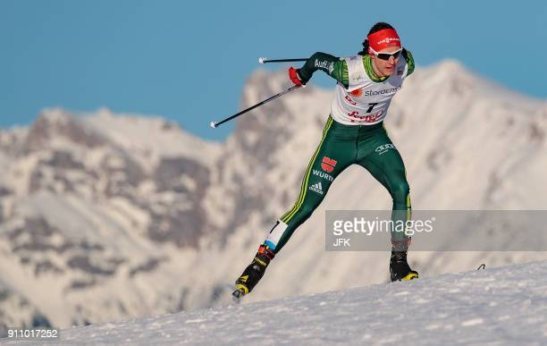 Second placed Vinzenz Geiger of Germany competes during the Seefeld Nordic Combined Triple of the FIS Nordic Combined World Cup in Seefeld Austria on...