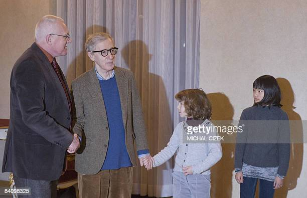 Second President of the Czech Republic Vaclav Klaus welcomes the US Movie director and actor Woody Allen and his daughters Manzie and Bachet Allen on...