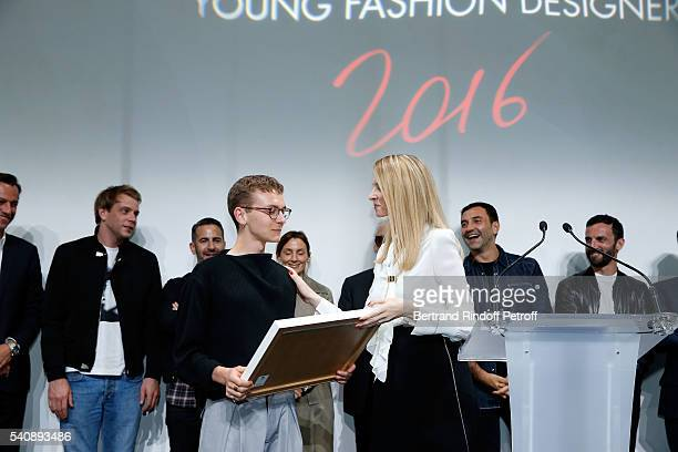 Second Prize Vejas Kroszewski and Delphine Arnault attend the LVMH Prize 2016 Young Fashion Designer at Fondation Louis Vuitton on June 16 2016 in...