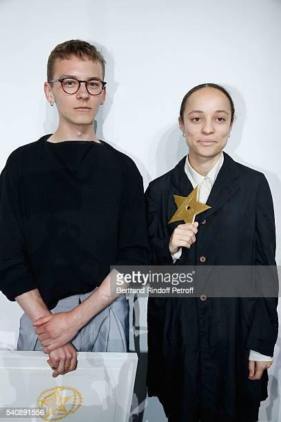 Second Prize Vejas Kroszewski and Winner of Prize Grace Wales Bonner attend the LVMH Prize 2016 Young Fashion Designer at Fondation Louis Vuitton on...
