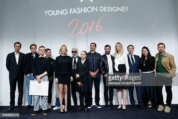 Second Prize Vejas Kroszewski Lea Seydoux Winner of Prize Grace Wales Bonner and Delphine Arnault and Jury attend the LVMH Prize 2016 Young Fashion...