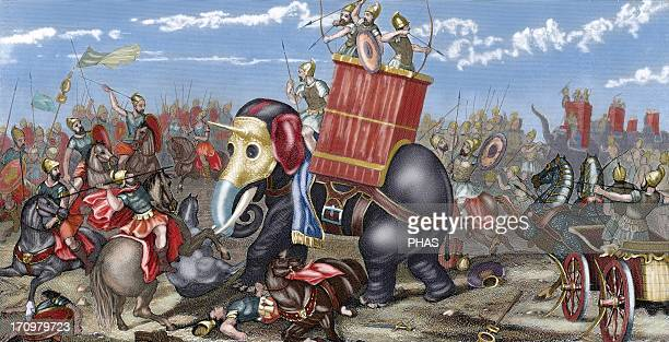 Second Punic War The Battle of Zama A Roman army led by Publius Cornelius Scipio Africanus defeated a Carthaginian force led by Hannibal Colored...