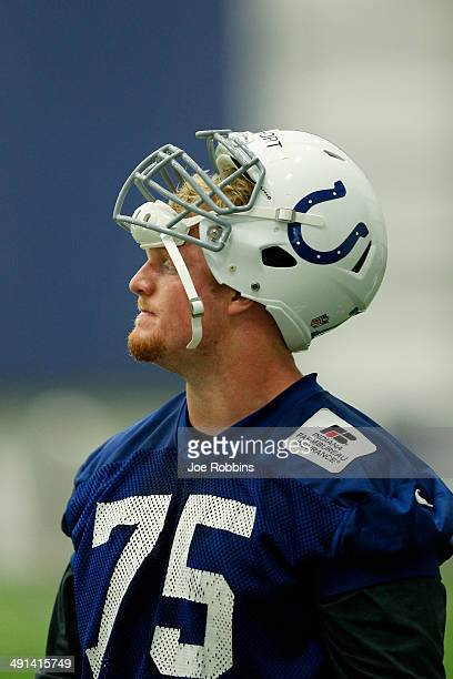 Second round draft pick Jack Mewhort of the Indianapolis Colts looks on during a rookie minicamp at the team complex on May 16, 2014 in Indianapolis,...