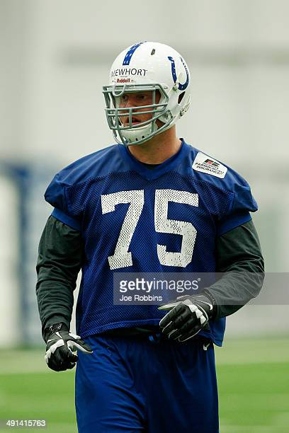 Second round draft pick Jack Mewhort of the Indianapolis Colts works out during a rookie minicamp at the team complex on May 16, 2014 in...