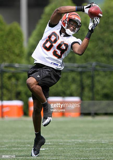 Second round draft pick Jerome Simpson of the Cincinnati Bengals catches a pass during rookie mini camp May 2 2008 next to Paul Brown Stadium in...