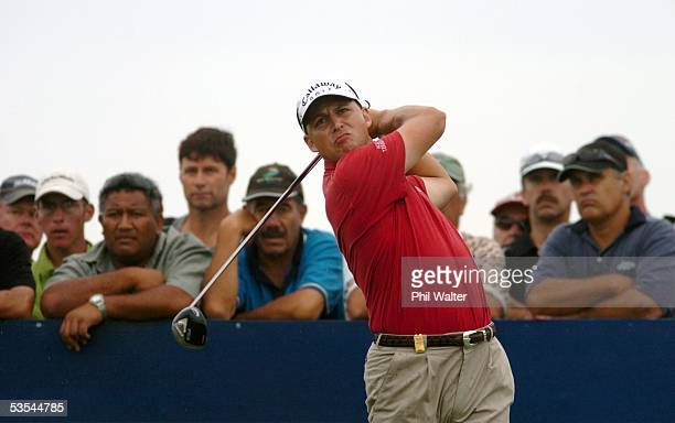 Second round leader Niclas Fasth of Sweden tees off during the second day of the Holden New Zealand Golf Open, played at the Gulf Harbour Country...