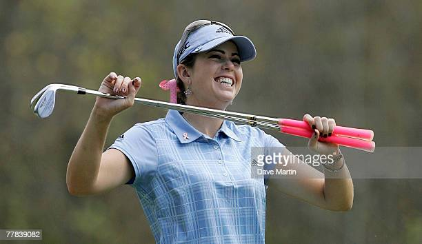 Second round leader Paula Creamer laughs while staying loose on the 4th tee box during third round play in The Mitchell Company LPGA Tournament of...