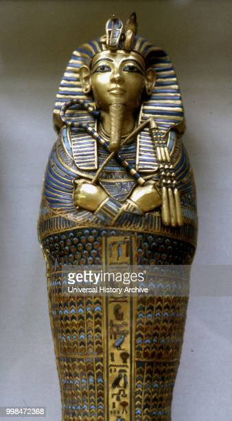 Second sarcophagus of King Tutankhamen, Egyptian pharaoh of the 18th dynasty , during the period of Egyptian history known as the New Kingdom or...