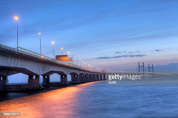 second severn crossing bridge at sunset - severn river stock pictures, royalty-free photos & images
