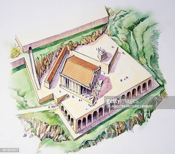 Second shrine dedicated to Feronia drawing Terracina Lazio Italy Etruscan civilisation 2nd century BC