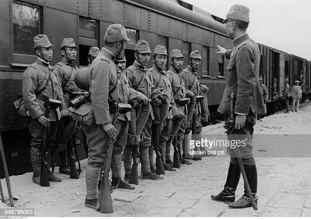 Second SinoJapanese War 19371945 Japanese soldiers in front of the train that takes them to the front without further details summer 1938 Vintage...