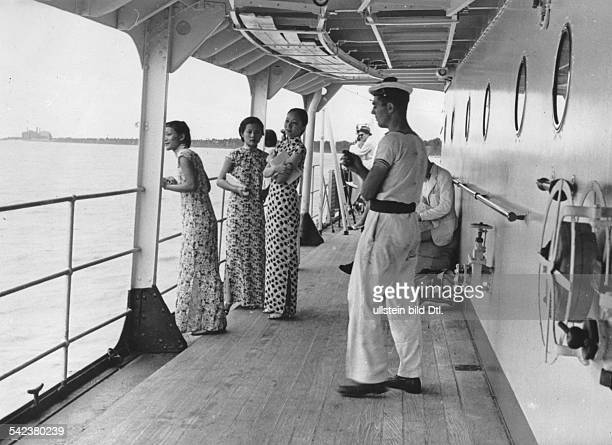 Second SinoJapanese War Chinese on escape Chinese women on board of a ship leaving Shanghai autumn 1937Photographer Walter Bosshard
