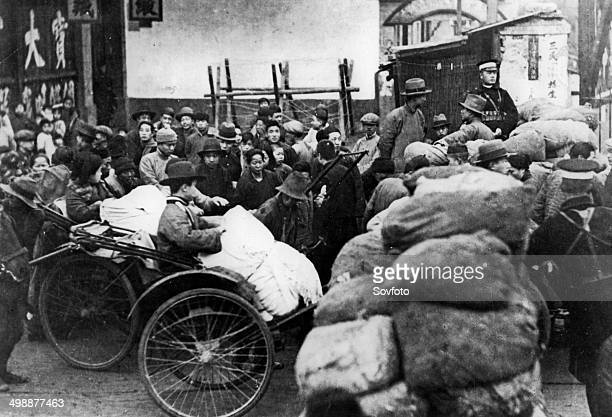 Second SinoJapanese War Chinese refugees of the Shanhai war area at the time of the Japanese invasion 1937