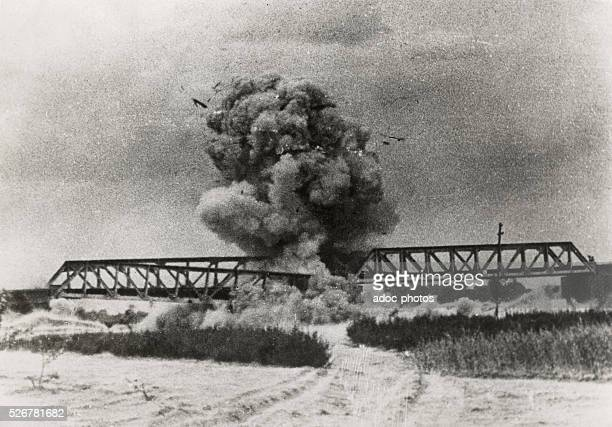 Second SinoJapanese War Destruction of a railway bridge by the Japanese army to prevent the retreat of Chinese troops near Xuzhou In June 1938