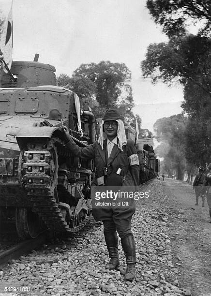 Second SinoJapanese War Japanese offensive in North China Japanese tanks on a special train waggon pcicture showing Ms Yamagishi war correspondent of...