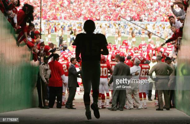 Second String Backup Quarterback Todd Collins of the Kansas City Chiefs walks out of the tunnel to join teammates onto the field prior to the game...
