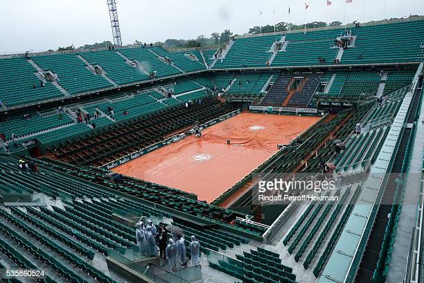 Second time in Roland Garros Tournament history that a full day is canceled Illustartion view of the Central Court under the rain during Day Nine of...