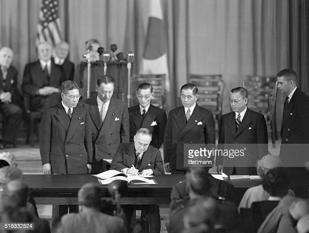 Second Treaty For the Japanese San Francisco California Shigeru Yoshida Prime Minister of Japan signs the Bilateral Security Treaty with the United...