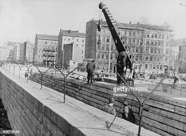 A second wall under construction to further fortify the border at the Berlin Wall at Bernauer Strasse Berlin Germany April 1967