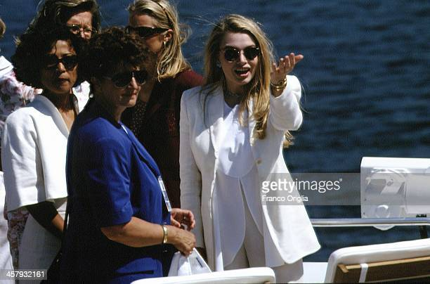 Second wife of Italian Prime Minister Silvio Berlusconi Veronica Lario on a official visit of the city during the G7 Summit on July 10 1994 in Naples...