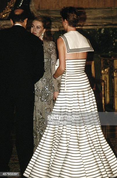 Second wife of Italian Prime Minster Silvio Berlusconi Veronica Lario receives French Foreign Minister Alain Juppe and his wife Isabelle at the...