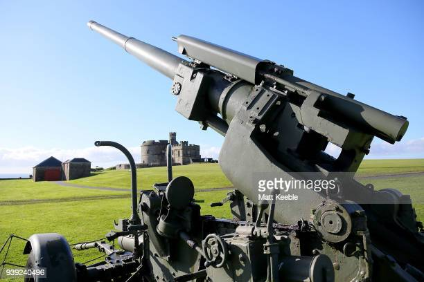 Second World War antiaircraft gun at Pendennis Castle on March 28 2018 in Falmouth England English Heritage are warning that many of the historic...