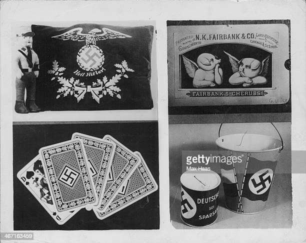 Second World War artifacts on display at the 'Bad Taste' exhibition of German Nazi memorabilia including playing cards and toys previously banned...