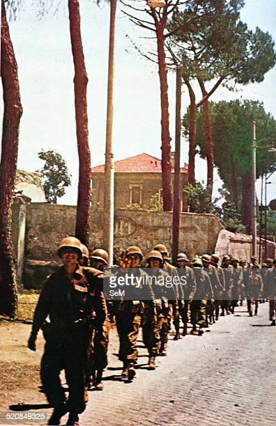 Second World War Italy 1944Liberation of Rome American soldiers enter in Rome by a consular road after the rescape of the Germans