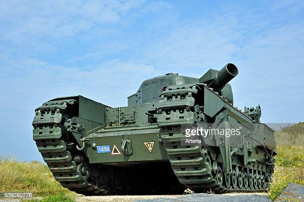 Second World War Two Churchill tank at Juno Beach, Courseulles-sur-Mer, Normandy, France.