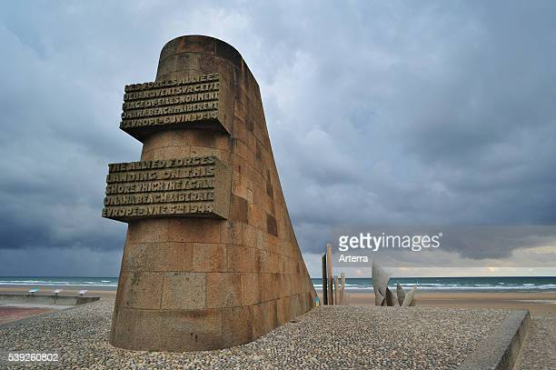 Second World War Two monument at Omaha Beach scene of the WW2 DDay invasion at SaintLaurentsurMer Normandy France
