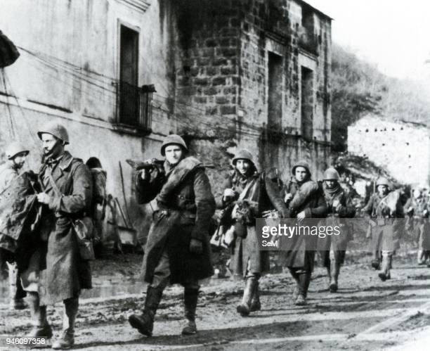 Second World WarFascism Greece Italian Armistice 1943 A platoon marching in arms at the news of the armistice on 8 September 1943