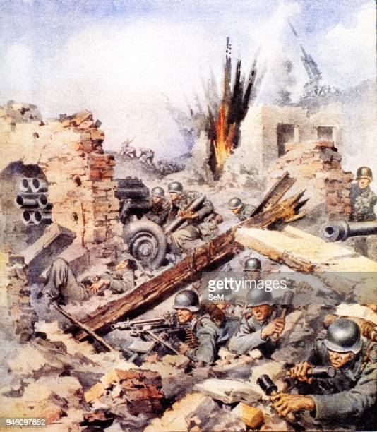 Second World WarItalian Campaign Montecassino1944 The Battle for Cassino on an illustration of the newspaper La Domenica del Corriere April 2 1944...