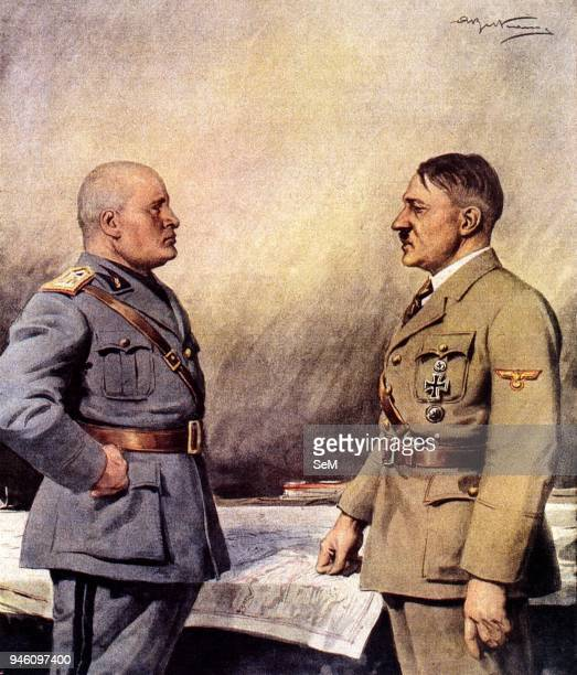 Second World WarItaly 19401943 The Duce of Fascism Benito Mussolini and the Fuhrer Adolf Hitler allied in an illustration of the Domenica del Corriere