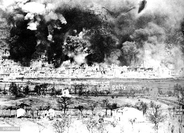 Second World WarItaly 1944 Air raid at Monte Cassino in February 1944 The Monte Cassino Abbey atop Monastery Hill February 15 1944 during bombing and...