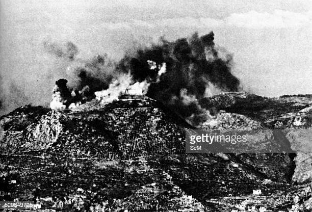 Second World WarItaly 1944 Air raid at Monte Cassino in February 1944 The Monte Cassino Abbey atop Monastery Hill February 15 1944 during and after...