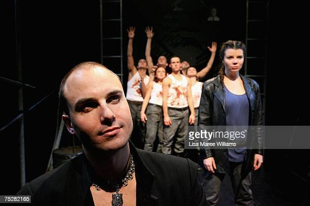 Second Year actors Alastair Vick and Katharine Cullen pose for a photo with fellow cast members during rehearsals for the 2007 production of Julius...