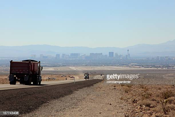 secondary highway into las vegas - heat haze stock pictures, royalty-free photos & images