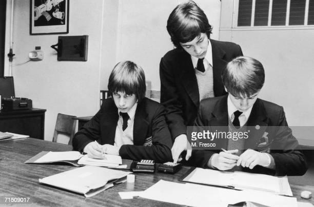 Secondary school pupils at Kettering Grammar School in Kettering, Northamptonshire, December 1976.