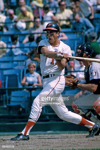 Secondbaseman Davey Johnson of the Baltimore Orioles at bat during a game in 1970 against the Minnesota Twins at Memorial Stadium in Baltimore...