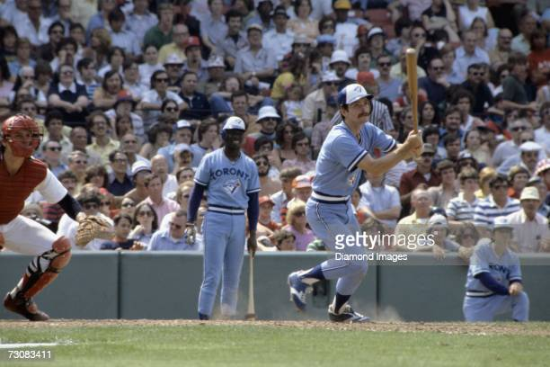 Secondbaseman Steve Staggs of the Toronto Blue Jays fouls off a pitch during a game on July 4 1977 against the Boston Red Sox at Fenway Park in...