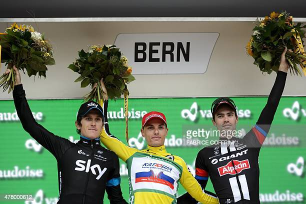 Secondplaced Britain's Geraint Thomas of Sky team winner Slovenia's Simon Spilak of Katusha team and thirdplaced Netherland's Tom Dumoulin of Giant...