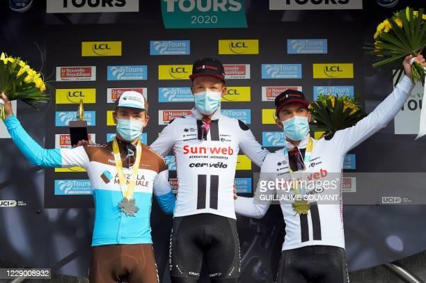 Second-placed French rider of Team AG2R La Mondiale Benoit Cosnefroy, winner Danish rider of team Team Sunweb Casper Pedersen and third-placed Danish...