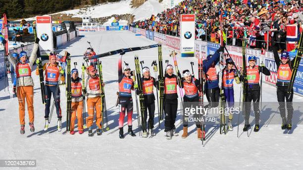Second-placed Germany's Vanessa Hinz, Denise Herrmann, Franziska Preuss and Karolin Horchler, winners Norway's Marte Olsbu Roiseland, Tiril Eckhoff,...