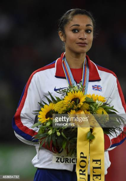 Secondplaced Great Britain's Jodie Williams poses on the podium during the Women's 200m medal cveremony during the European Athletics Championships...