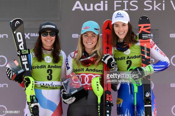 secondplaced Switzerland's Wendy Holdener firstplaced US Mikaela Shiffrin and thirdplaced Slovakia's Petra Vlhova celebrate during the podium...