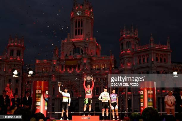 Second-placed Team Movistar rider Spain's Alejandro Valverde, winner Team Jumbo rider Slovenia's Primoz Roglic and third-placed Team UAE Emirates...
