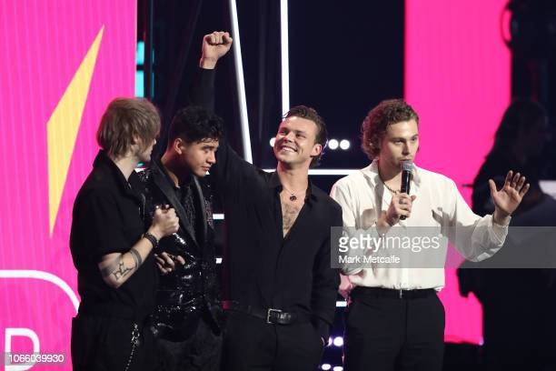 Seconds of Summer accept the ARIA Award for Song of The Year during the 32nd Annual ARIA Awards 2018 at The Star on November 28 2018 in Sydney...