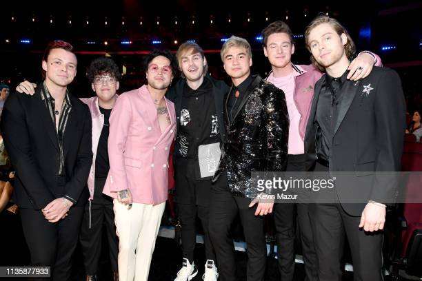 5 Seconds of Summer and lovelytheband attend the 2019 iHeartRadio Music Awards which broadcasted live on FOX at Microsoft Theater on March 14 2019 in...