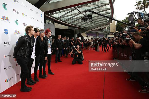 Seconds of Summer Luke Hemmings, Calum Hood, Ashton Irwin and Michael Clifford arrives at the 28th Annual ARIA Awards 2014 at the Star on November...