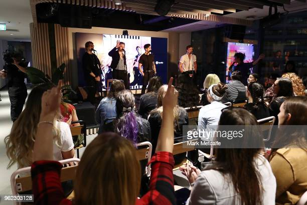 Seconds of Summer perform on stage during the Spotify Fans First Event With 5 Seconds Of Summer on May 25 2018 in Sydney Australia Spotify invited...